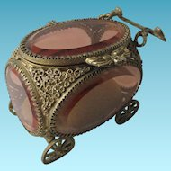 Gold Plate & beveled glass DISPLAY CASKET shaped like a wheeled CARRIAGE; Antique 19th Century