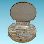 INCREDIBLE Palais Royal Shell shaped sewing box c1800's with MOP tools