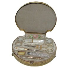 INCREDIBLE Palais Royal Shell shaped sewing box c1800's with MOP tools