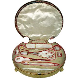 Original & Complete Palais Royal Necessaire with solid carved Mother-of-pearl shell shaped cover c.1700's,France