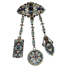 A19th century Art Nouveau 3 ARM ENAMEL CHATELAINE with a PERFUME BOTTLE,MAKEUP PAPER & a MIRROR