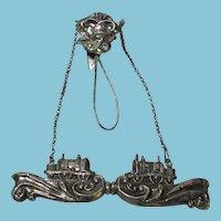 SILVER TRAIN CHATELAINE broach NEEDLE CASE; Original Antique c1800
