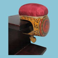 Hand Painted & carved Tunbridge PIN CUSHION SEWING CLAMP; Original Antique, wooden