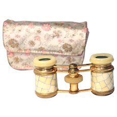 French MOP OPERA GLASSES & Case; GOLD plated Brass Original ANTIQUE c1800