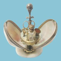 Palais Royal 19th Century, 6 piece Opaline Egg Perfume & Sewing ETUI