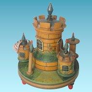Tunbridge Treen Castle 7 piece ETUI Sew Spool & Thimble Holder Pin Cushion Tape Measure, 18th Century