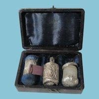 ETUI,Sterling & Leather GEORGIAN set; TAPE MEASURE,Thimble & Pin Cushion ANTIQUE Original c1800