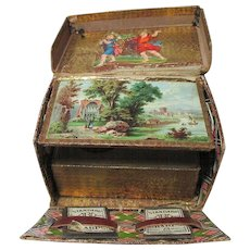 19th Century Victorian LITHOGRAGH SEWING BOX scraps vintage tartan explosion pin cushion; Original Antique