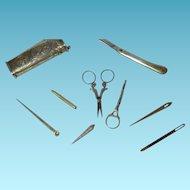 ETUI sewing 8pc ANTIQUE set: SILVER Hallmarked,ORIGINAL,awl knife,scissor,bodkin