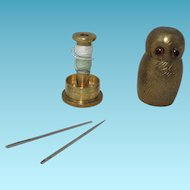 Adorable Solid Brass Figural Owl Shaped ETUI; Needles,Sewing Thread Holder ORIGINAL Antique