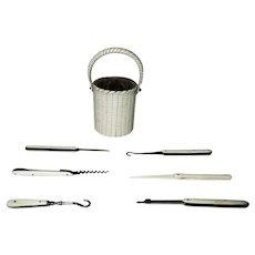 Antique miniature Handled Basket, COMPLETE ETUI set with 6 tools; c1800's