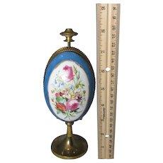 Large 5pc Porcelain FLORAL ETUI ;Antique c1800's, thimble,needle case,awl,scissor