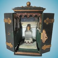 18pc Leather Storage Box LADY's COMPANION, Inside back wall is mirrored to reflect a stunning Crystal Perfume Bottle & each side is flanked by a moving door that holds the rest of the pieces; Antique c1850's