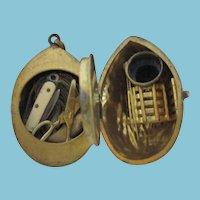 Bronze Walnut ETUI; Antique 19th century includes, tape measure, knife,scissor, thimble, glass head pins