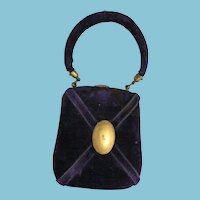 Palais Royal ETUI Velvet and Brass Purse with Sewing Tools; Antique c1870