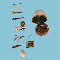 RaRe 12pc COMPLETE miniature Antique c1700's French Egg ETUI, An INCREDIBLE Addition to your Sewing collectables.