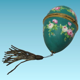 GORGEOUS hand painted Antique French Palais Royal Gilt and green Ormolu  Sewing egg.with tools