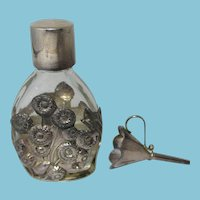 Antique Sterling Silver & Glass, Perfume Bottle with Funnel In Original Box; 7 hallmarks