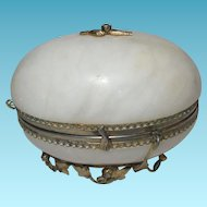 Palais Royal LARGE White Opaline Egg on a leaf & floral ring; Excellent 19th Century Antique