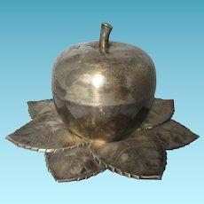 SURPRISE! Rosh hashanna Crystal set Hidden inside a Silver Apple; Original Vintage, 6 wine glasses, Made in Israel c1950