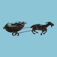 Bronze Goat Pulling cart with Sewing Supplies: Antique c1800's
