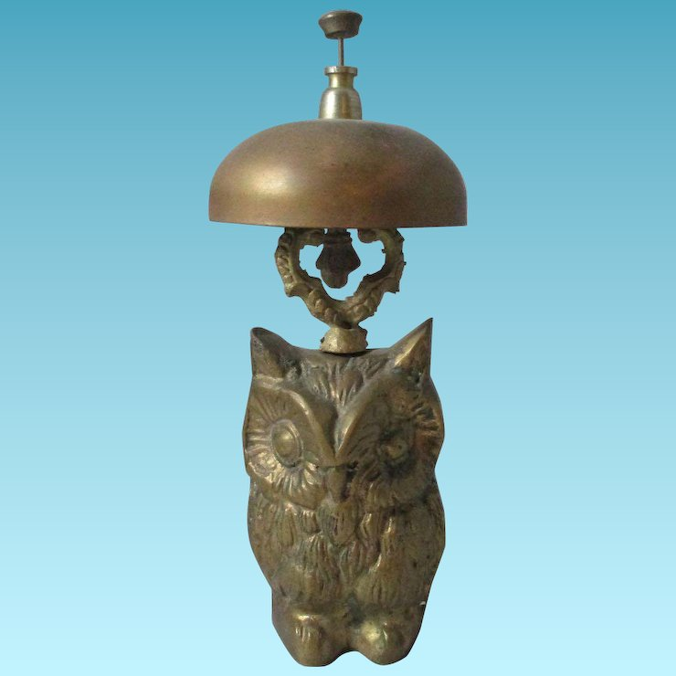 Brass Owl Novelty Desk Bell Antique 19th Century