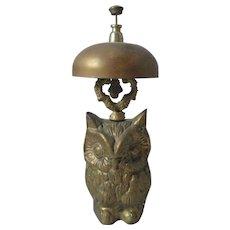 BRASS OWL novelty DESK BELL ; Antique 19th century,