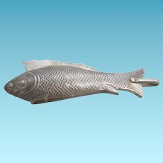 Antique Sterling Silver FLIP COMB, figural fish c1870's, France