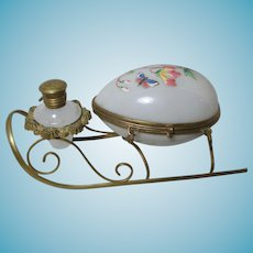 Antique French Palais Royal Pearlized Gilt Ormolu Perfume and Sewing or Jewel Casket on a sled base