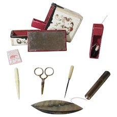 10pc Ladies leather ETUI Sewing COMPANION BOX c1800 Original Antique