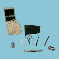 Necessaire ETUI; MOTHER of PEARL SEWING COMPANION case ; ANTIQUE c1800 ORIGINAL