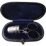 Child Size, French NECESSAIRE sewing kit with silver thimble; Antique c1800
