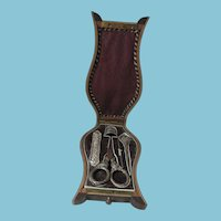 RaRe PALAIS ROYAL LYRE Shaped SEWING NECESSAIRE; Antique French c1830