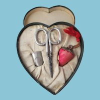 """Heart Shaped Necessaire with Sterling scissor,""""thumble"""" Thimble and strawberry Emery; Antique c1900 U.S.A."""