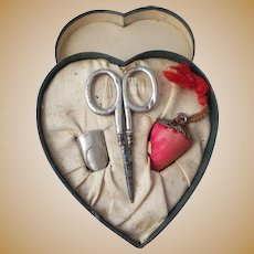 "Heart Shaped Necessaire with Sterling scissor,""thumble"" Thimble and strawberry Emery; Antique c1900 U.S.A."