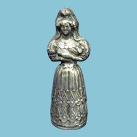 Sterling Victorian 2pc WOMAN sewing ETUI,NEEDLE CASE; figural RaRe Original ANTIQUE