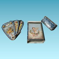 CHERUBS on FAN NEEDLE CASE & Original BOX & needle packets, H Millward & Sons ; Antique Old Victorian 19th century