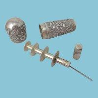 Sewing ETUI needle case Floral design; Antique c1900