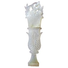 Mother-of-Pearl Unique carved FLORAL NEEDLE CASE ; Original Antique, c1870's