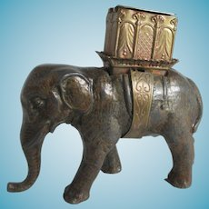 RaRe W. Avery & Son,ELEPHANT w/ Howdah, PIN & NEEDLE Case; Original Antique c1880