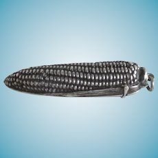 Antique Silver figural Needle Case Shaped as a CORN COB, c1800's
