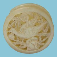 2pc Mother-of-Pearl Hand carved BIRD & FLOWER, PIN or PILL CASE; Antique c1800, lovely detail