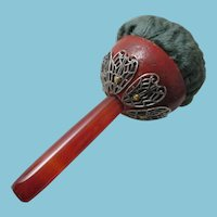 Hand Held SOLID AGATE handle with silver details DARNER & PIN CUSHION;German, Antique c1800's