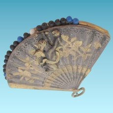 Thornhill Brass PIN CUSHION shaped like a fan with a cupid on front & mirror on back from a Chatelaine; Antique c1883, often mistaken as Avery