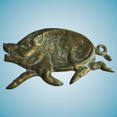 figural PIN TRAY, Brass Hog or Pig; Antique 19th century Fabulous detail