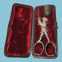 RARE Antique  Gilded Silver Sewing box of a Military Man  Scissors & Thimble set; Original c1700s