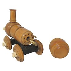 Victorian Wooden Train Shaped CROCHET CASE  plus BONUS  TAMBOUR  W/ extra hooks ; Original Antique c1800's