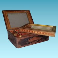 French Prisoner of War Made, Stationery within a Sewing Straw Box, 19th Century