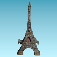 Rare  2-toned BRASS wind-up EIFFEL TOWER Tape Measure; ANTIQUE c1890's FIGURAL