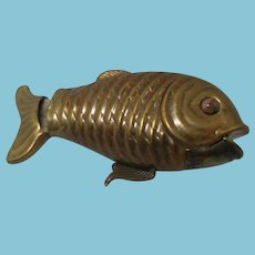 Antique Brass wind up FISH Tape Measure